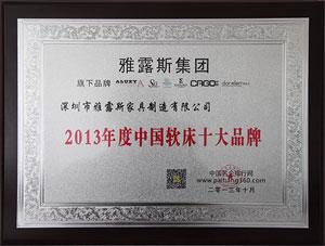 2013年度中国软床十大品牌